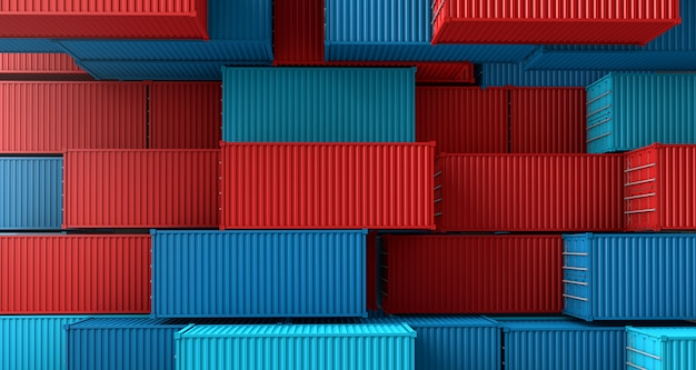 Stack of containers box, cargo freight ship on top view