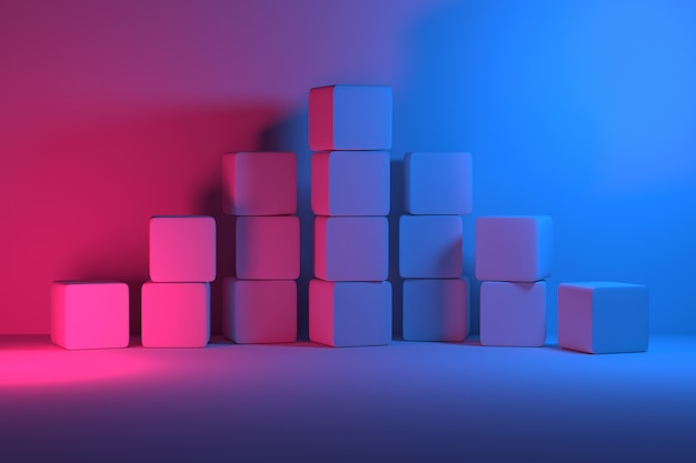 Stack of cubes arranged in pyramid illuminated by blue pink light