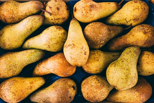 Stack of delicious pears