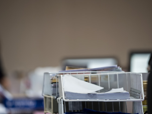 Stack of document on plastic shelf , business concept