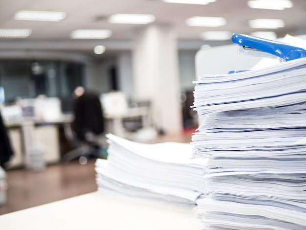 Stack of document on the table