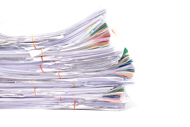 Stack of documents isolated