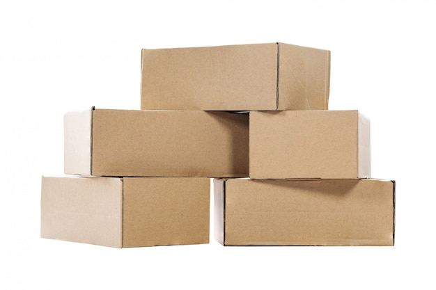 Stack of empty paper boxes for product packaging and delivery