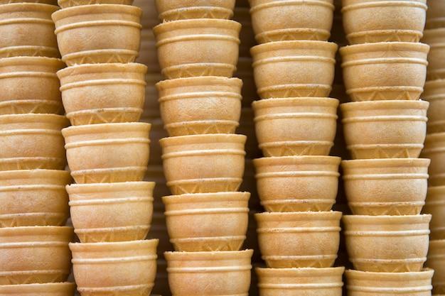 Stack of empty waffle ice cream cones