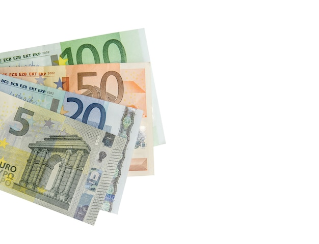 Stack of euro banknotes isolated on white.