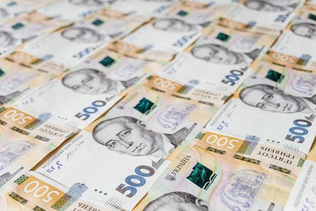 Stack of five hundred hryvnia bills close up