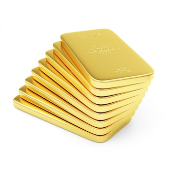 Stack of flat golden barsisolated