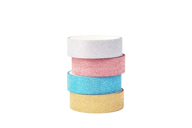 Stack of four rolls of glitter tape