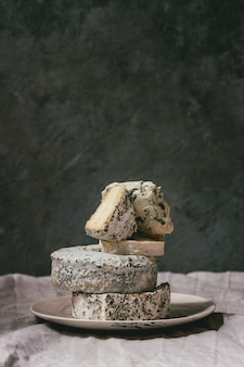 Stack of french cheese
