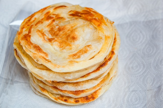 Stack of fried crispy roti, thai style.