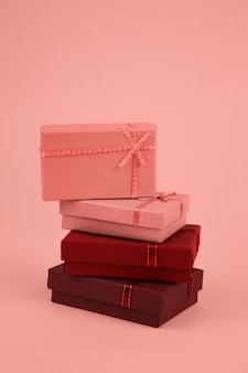 Stack of gift boxes toned