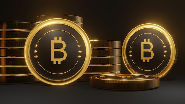 Stack of glowing golden bitcoin on black background
