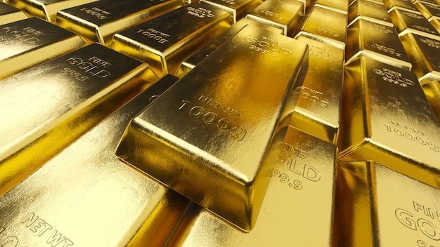 Stack of gold bars. bank or financial concept.