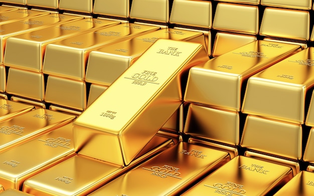 Stack of gold bars in the bank vault