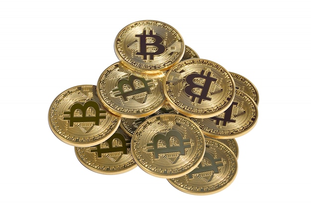 Stack of gold bitcoin