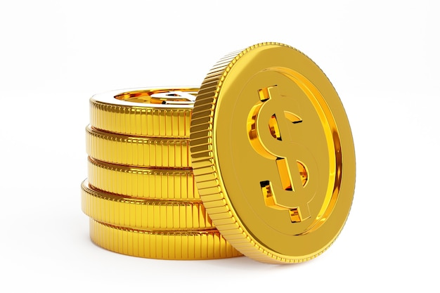 Stack of gold coin, business banking concept. 3d render.