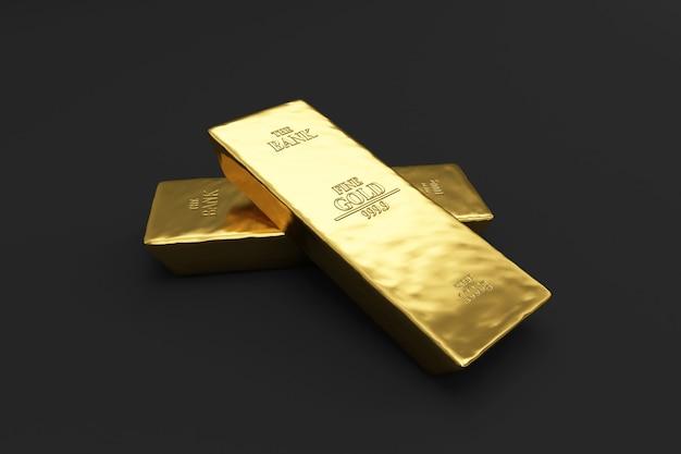 Stack of golden bars on black