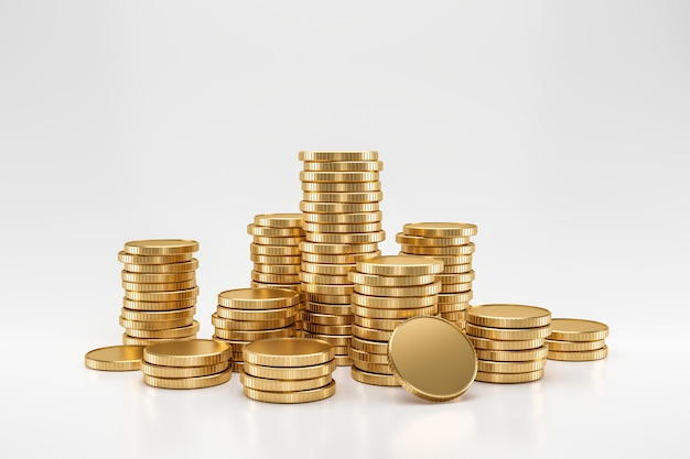 Stack of golden coins on white wall with earning profit concept. gold coins or currency of business. 3d rendering.