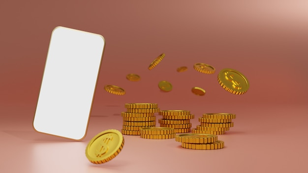 Stack of golden coins with white screen mobile mockup over pink background