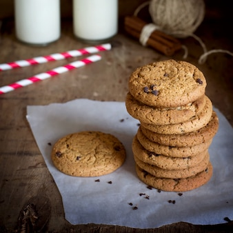 Stack of homemade oatmeal cookies with chocolate and cinnamon