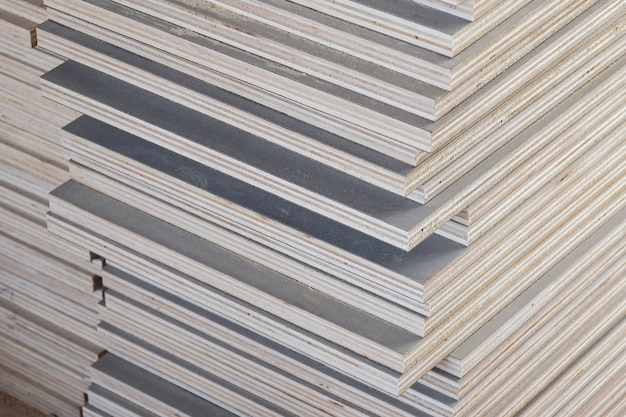 Stack of industrial plywood in construction