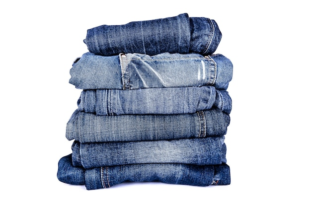 Stack of jeans. fashionable clothes. pile of jeans