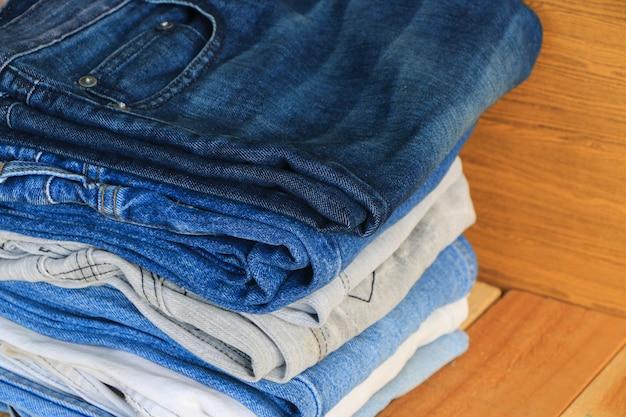 Stack of jeans Premium Photo