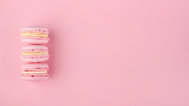Stack of macarons with copy space for valentines day