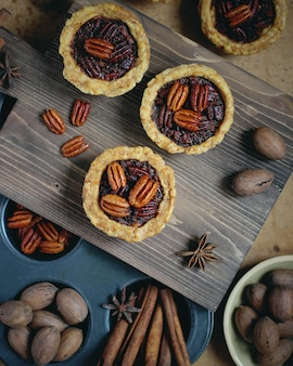 Stack mini pecan pies