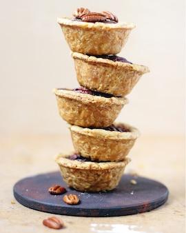 Stack mini pecan pies