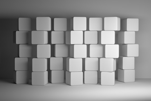 Stack of multiple white plain cubes boxes