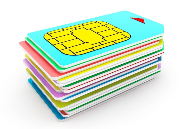 Stack of mutlicolored sim cards on a white background