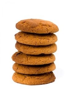 Stack of oatmeal chocolate chip cookies isolated on white background