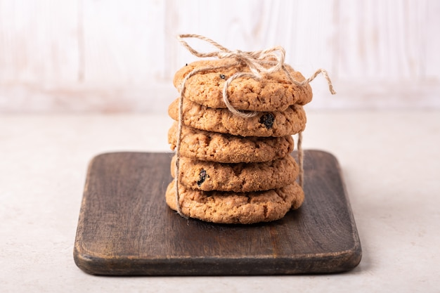 Stack of oatmeal cookies. homemade bakery