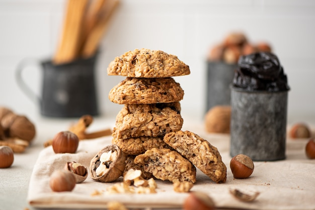 Stack of oatmeal cookies with dried fruits and nuts