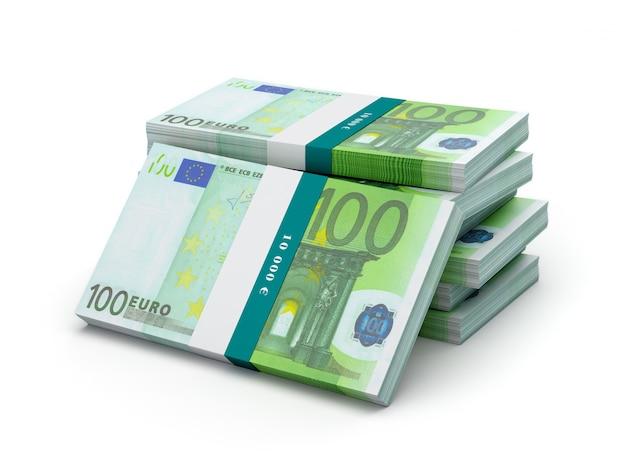 100ユーロ紙幣手形のスタック