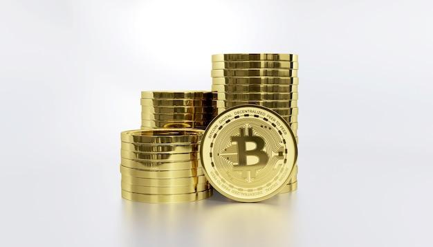 Стек биткойн цифровой криптовалюты 3d визуализации фона иллюстрации