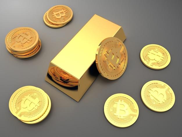 Стек биткойнов и монет ethereum вокруг золотого слитка (слитка). 3d визуализированная иллюстрация