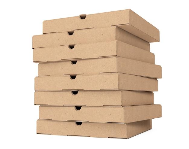 흰색 바탕에 빈 골 판지 피자 상자의 스택. 3d 렌더링.