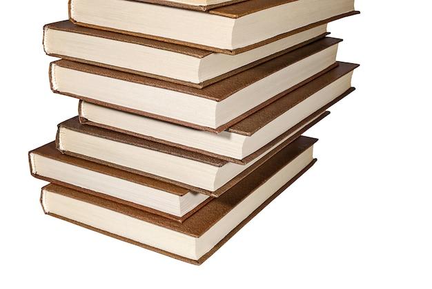 白い背景で隔離の本のスタック