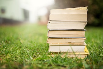 Stack of books on lawn