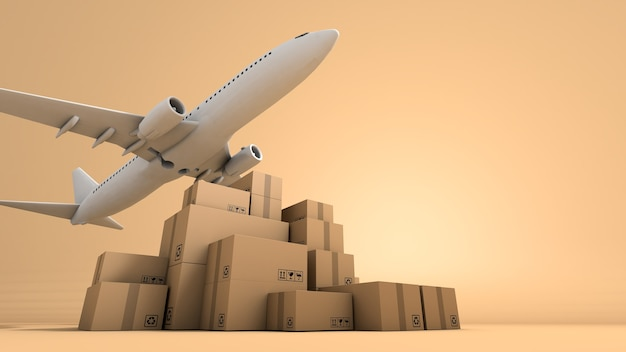 Стек коричневой коробки упаковки и самолета