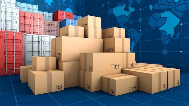 Стек коричневой коробки упаковки и контейнера
