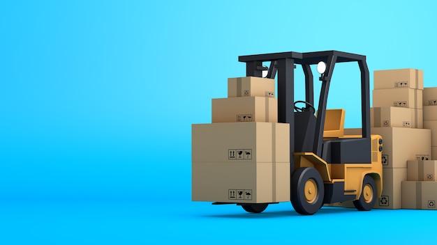 Стек коричневой коробки упаковки и вилочного погрузчика