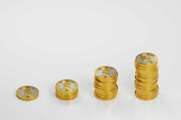 책상에 동전의 스택입니다. 사업. 금융 3d 렌더링