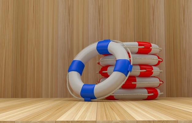 Стек красочные спасательные круги на деревянных
