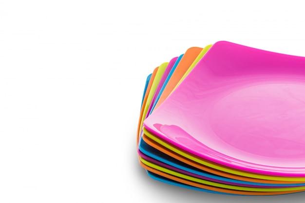 다채로운 접시의 스택입니다. 메뉴 컨셉
