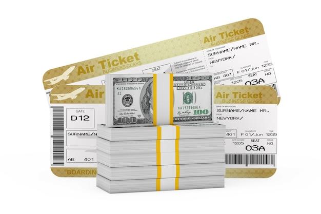 두 개의 골든 비즈니스 또는 퍼스트 클래스 항공 탑승권 앞의 달러 지폐 더미는 흰색 바탕에 비행기 티켓입니다. 3d 렌더링