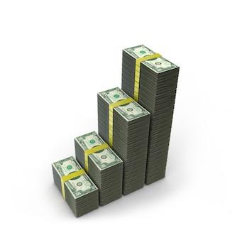 달러의 스택입니다. 개념적 그림입니다. 흰색 배경에 고립. 3d 렌더링