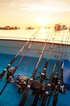 Stack of fishing rod on fishing boat